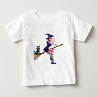 Witch Cartoon Character Flying On Broomstick Baby T-Shirt