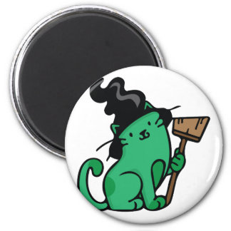 Witch Cat 2 Inch Round Magnet