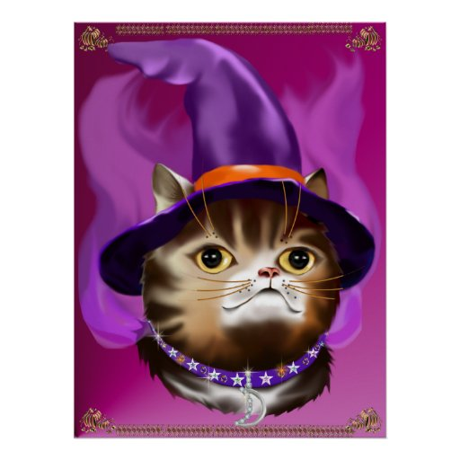 Witch Cat Face poster