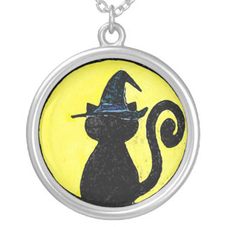 Witch Cat over yellow background necklace