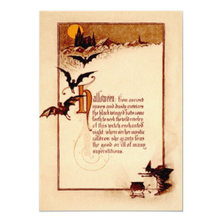 Witch Cauldron Bat Full Moon Card