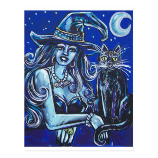 witch diva with her black cat postcard