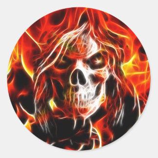 Witch Fiery Skull Classic Round Sticker