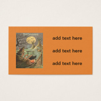 Witch Fire Cauldron Full Moon Night Business Card