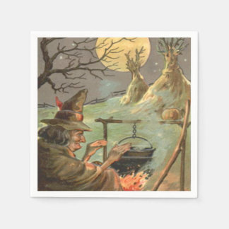 Witch Fire Cauldron Full Moon Night Disposable Napkins