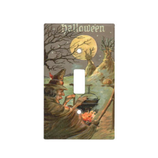 Witch Fire Cauldron Full Moon Night Light Switch Cover