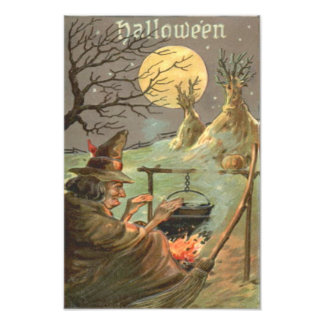 Witch Fire Cauldron Full Moon Night Photo Print
