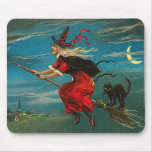 Witch Flying Black Cat Crescent Moon Mouse Pad