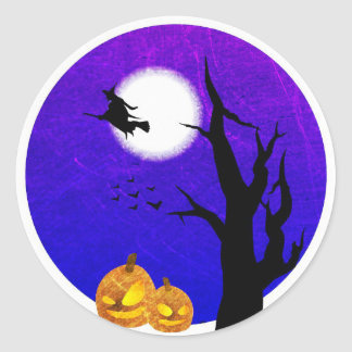 Witch Flying by Full Moon Halloween Stickers