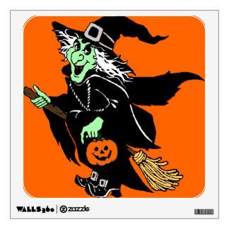 Witch Flying Halloween Cartoon Wall Decal