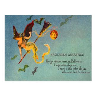 Witch Flying Jack O Lantern Pumpkin Green Bat Postcard