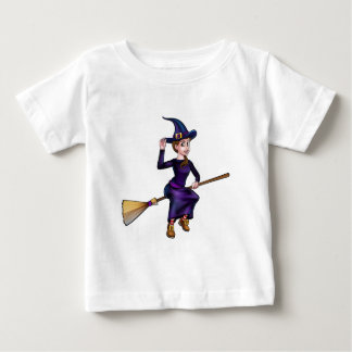 Witch Flying On Broomstick Halloween Character Baby T-Shirt