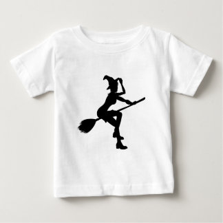 Witch Flying On Broomstick Halloween Silhouette Baby T-Shirt