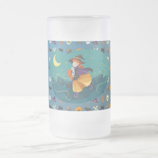 Witch for child frosted glass beer mug