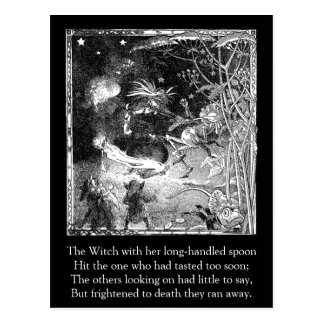 Witch, Gnomes and Fleeing Frog Postcard