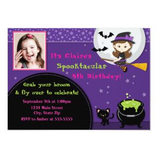 Witch Halloween Birthday Invitation Brunette