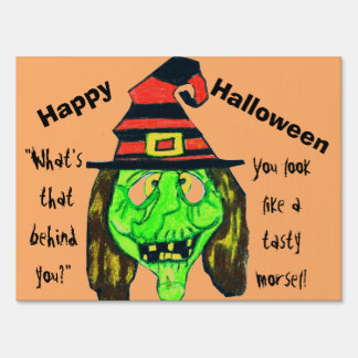 WITCH HAPPY HALLOWEEN yard sign
