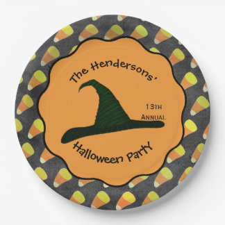 Witch Hat & Candy Corn Paper Plate