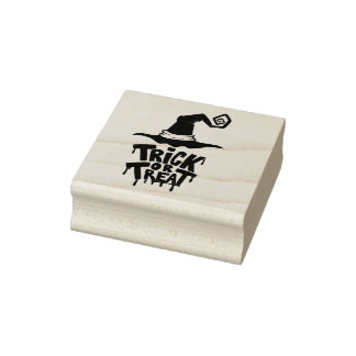 Witch Hat Trick or Treat Rubber Stamp
