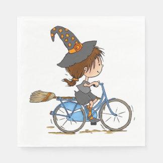 Witch in bike - napkin paper napkins