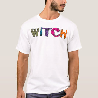 """Witch"" in Cat Letters on a T-Shirt"