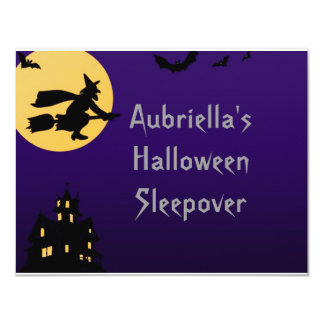 """Witch In Flight at Midnight"" - (Personalized Slee 4.25"" X 5.5"" Invitation Card"