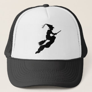 Witch in Flight on Broom Silhouette Trucker Hat