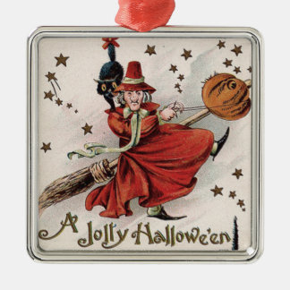 Witch Jack O Lantern Black Cat Stars Silver-Colored Square Ornament