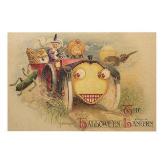 Witch Jack O Lantern Car Owl Full Moon Wood Canvases