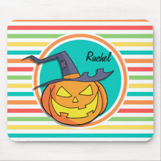 Witch Jack-o-lantern on Bright Rainbow Stripes Mouse Pads
