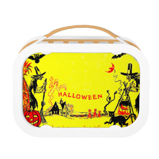 Witch Jack O' Lantern Owl Ghost Haunted House Lunch Box