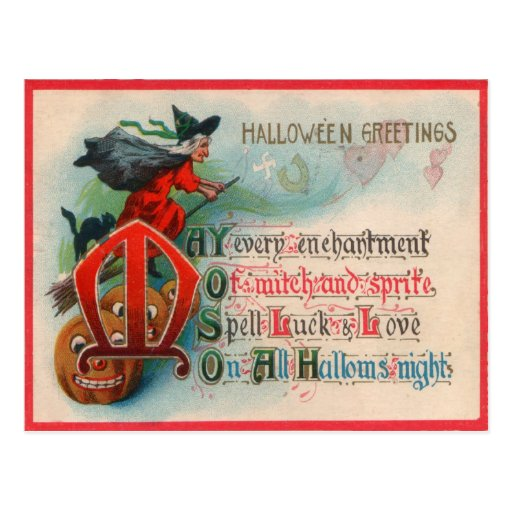 Witch Jack O Lantern Pumpkin Postcard