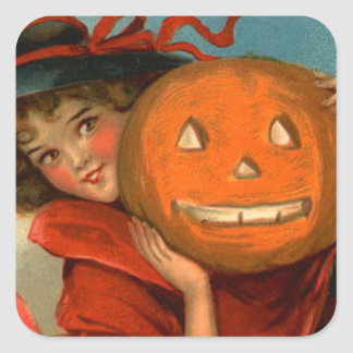 Witch Jack O Lantern Pumpkin Square Sticker