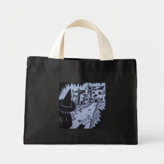 witch knarled hand haunted house trick or treat mini tote bag