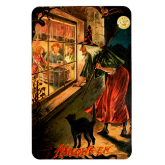 Witch Looking Through Window Rectangle Magnet