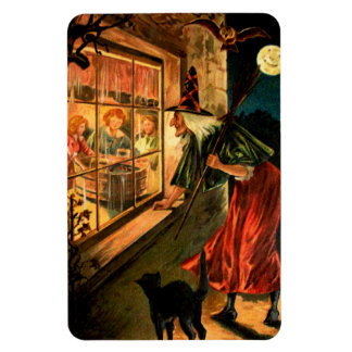 Witch Looking Through Window Rectangular Magnets