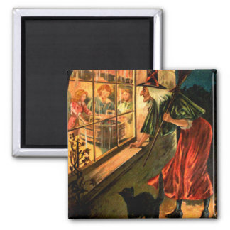 Witch Looking Through Window Square Magnet