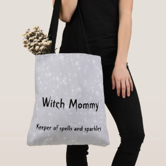 Witch Mommy gray / grey sparkly design Tote Bag