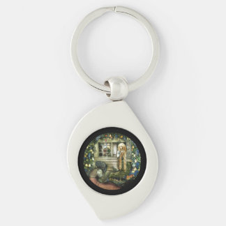 Witch Offering Pear not Apple to Princess Silver-Colored Swirl Keychain
