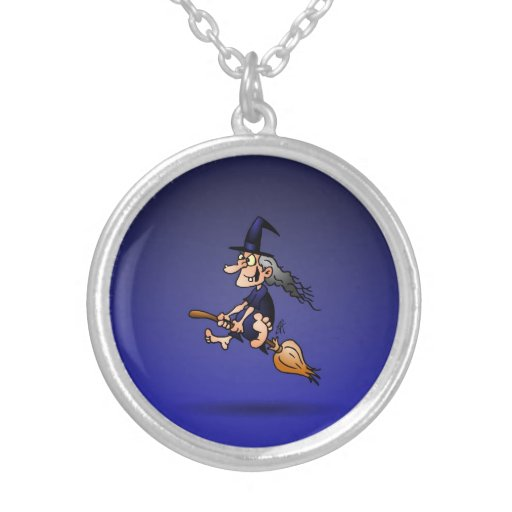 Witch on a broom pendant