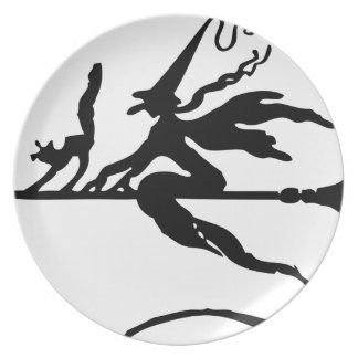 Witch On A Broom Plate