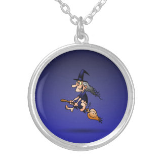 Witch on a broom silver plated necklace