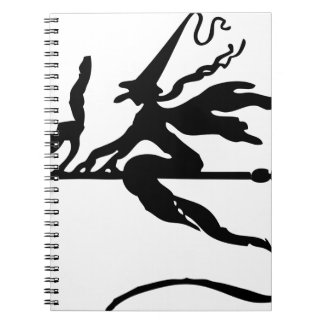 Witch On A Broom Spiral Note Book
