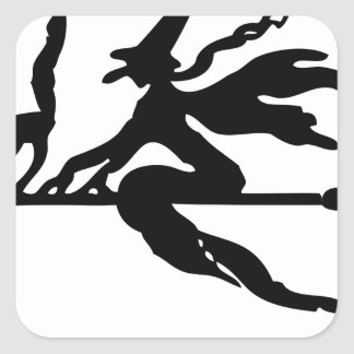 Witch On A Broom Square Sticker