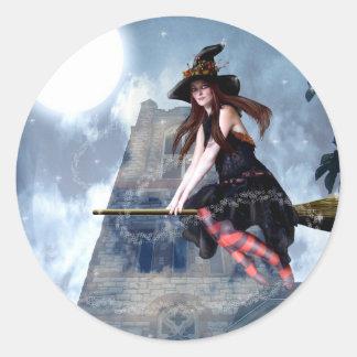 Witch on a Broom (Stickers) Round Sticker