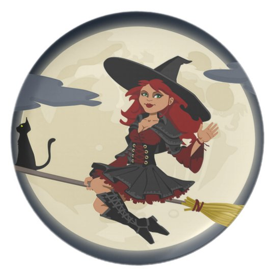 Witch on a Broomstick Halloween Plate