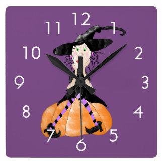 Witch On A Pumpkin Clock