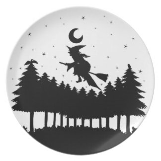 Witch on brooms - Halloween Dinner Plates