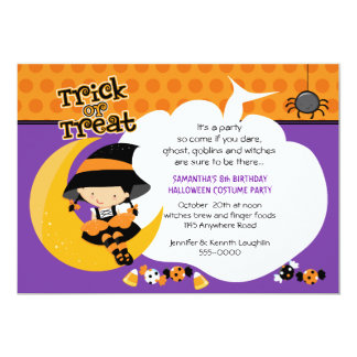 "Witch on the Moon Halloween Birthday 5"" X 7"" Invitation Card"