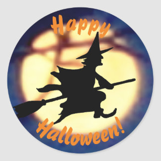 Witch Over Moon Halloween Stickers